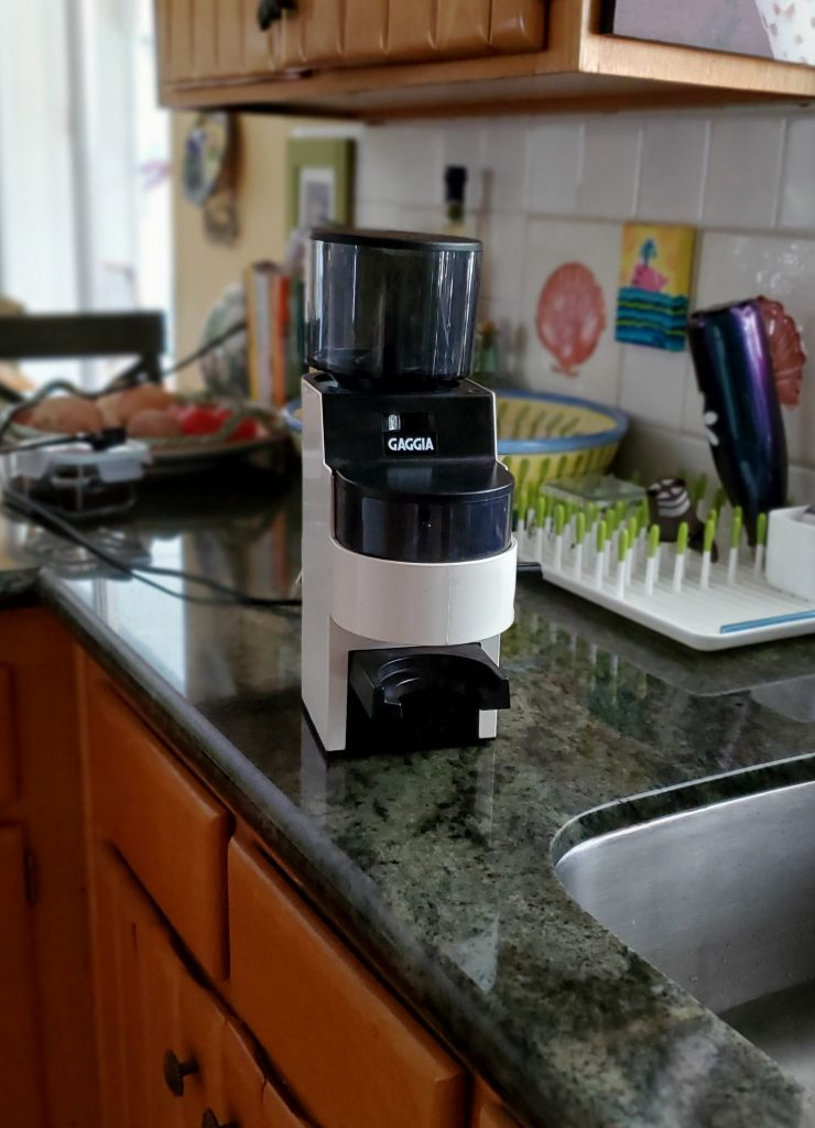 The Gaggia MDF Grinder sitting on a kitchen counter